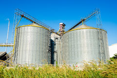 Factory manufacture animal feed with blue sky Stock Photo
