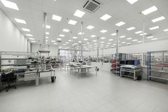 Factory for the manufacture of electronic printed circuit boards. Electronic industry Stock Photos
