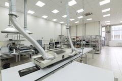 Factory for the manufacture of electronic printed circuit boards. Electronic industry Stock Photography