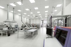 Factory for the manufacture of electronic printed circuit boards. Workshop surface mounting and pre-assembly. Electronic industry Royalty Free Stock Photography
