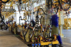 Factory manufacturing. Car factory manufacturing, working day Royalty Free Stock Photo