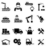 Factory and manufacturing industry icons. Factory, manufacturing, assembly line and automation related industrial icon set Stock Images