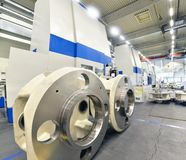Factory of modern mechanical engineering - production of gearbox. Es for wind turbines stock image