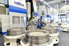 Factory of modern mechanical engineering - production of gearbox. Es for wind turbines royalty free stock images