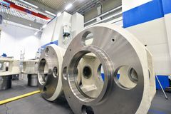 Factory of modern mechanical engineering - production of gearbox. Es for wind turbines royalty free stock photos