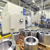 Factory of modern mechanical engineering - production of gearbox. Es for wind turbines stock photos
