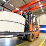 Factory of modern mechanical engineering - production of gearbox. Es for wind turbines - forklift truck transportation royalty free stock photography