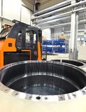 Factory of modern mechanical engineering - production of gearbox. Es for wind turbines - forklift truck transportation stock photo