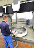 Factory of modern mechanical engineering - production of gearbox. Es for wind turbines - worker at cnc milling machine royalty free stock photography