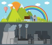 Factory and nature. Vector illustration Royalty Free Stock Photo