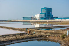 A factory near by salt evaporation pond at countryside Stock Photography