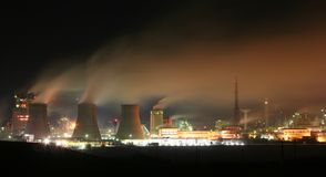 Factory at night. Night view of a chemical factory royalty free stock image