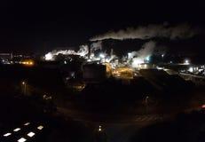 Factory at Night. A aerial panoramic photograph of a sugar beat factory operating at night royalty free stock photography