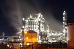 Factory at night, Oil industry Stock Photos