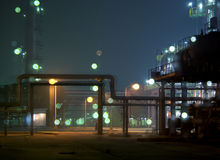 Factory night scene Stock Photos