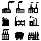 Factory, Nuclear Power Plant And Energy Icons Royalty Free Stock Photos