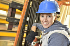 Factory operator in warehouse Stock Photo