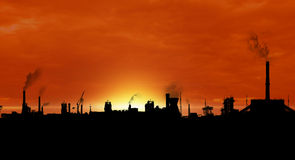 Factory outline. Panoramic view of big industry fabric outline during sunset Royalty Free Stock Photos
