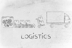 Factory, parcels & delivery truck: logistics Stock Images