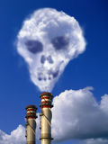 Factory pile with skull effect. Factory erupt with the smoke cause pollution Stock Image