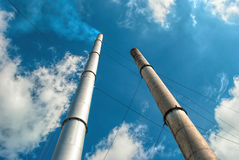 Factory pipe. And cloud sky Stock Photo