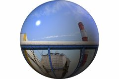 Factory pipe. Electrical industry. Territory of heat and power station. royalty free stock photography