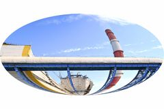 Factory pipe. Electrical industry. Territory of heat and power station. stock photos