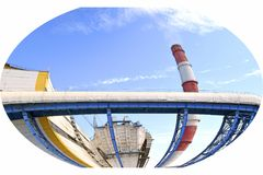 Factory pipe. Electrical industry. Territory of heat and power station. stock photography