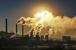 Factory pipe polluting air. Environmental problems, ecology theme royalty free stock photos