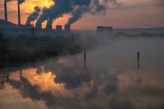 Factory pipe polluting air, environmental problems Royalty Free Stock Images