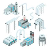 Factory pipe and set of industrial buildings. Isometric style pictures. Industry factory and industrial pipe for plant, vector illustration royalty free illustration