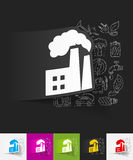 Factory pipes paper sticker with hand drawn Royalty Free Stock Photo
