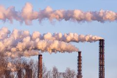 Magnitogorsk. Factory pipes produce smoke. Emissions of air pollutants royalty free stock images