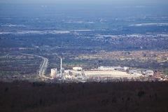 Factory plant besides Autobahn in Baden-Wurttemberg, Germany Stock Image