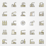 Factory and plant colorful icons Stock Images