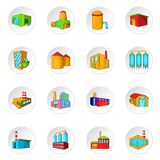 Factory, plant icons set, cartoon style Royalty Free Stock Photo