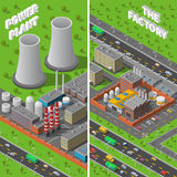 Factory Plant Industrial Isometric vertical Banners Royalty Free Stock Photos