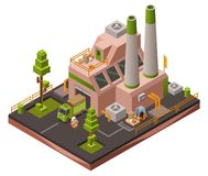 Factory plant isometric 3D illustration of modern industrial warehouse and logistics transport vehicles vector illustration