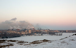 Factory pollutes the atmosphere Stock Images
