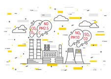Factory pollutes atmosphere vector illustration. Dangerous air pollution and toxic smog, exhaust concept. Coal industry and smoke with hazardous elements co2 stock illustration
