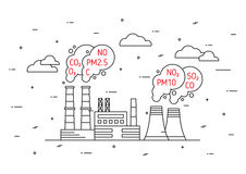 Factory pollutes atmosphere vector illustration royalty free illustration