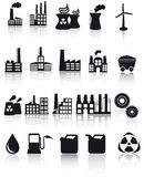 Factory and pollution icons Royalty Free Stock Images