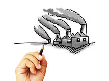 Factory pollution sketching Stock Images