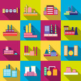 Factory power electricity industry manufactory buildings set of vector icons in flat Stock Photos