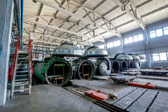Factory premises with opened autoclaves for concrete blocks production Royalty Free Stock Photography