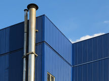 Factory Premises. View of factory premises steel frame Stock Photo