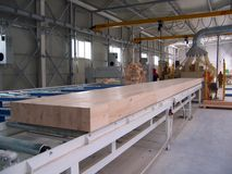 Factory production beams stock images