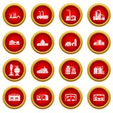 Factory and production buildings. Factory icons set. Simple illustration of 16 tennis icons set vector icons for web royalty free illustration