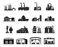 Factory and production buildings. Set of Factory building, production equipment, cranes and warehouses. silhouettes on a white background for any design style royalty free stock image