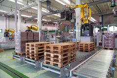Factory - Production of cardboard foodstuff containers. Automatic machines for the production and printing of cardboard foodstuff containers (mainly  pizza boxes Stock Photo